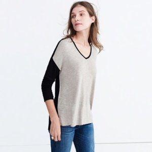 Madewell Colorblock Long Sleeve Top Black Tan S